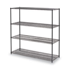 "BA Plus Wire Shelving Kit, 4 Shelves, 72"" x 24"" x 72"", Black Anthracite Plus"