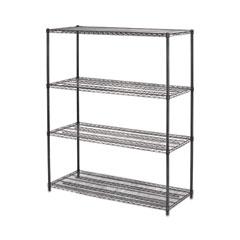 All-Purpose Wire Shelving Starter Kit, 4-Shelf, 60 x 24 x 72, Black Anthracite Plus