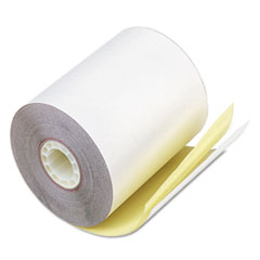 """Iconex™ Impact Printing Carbonless Paper Rolls, 0.69"""" Core, 3.25"""" x 80 ft, White/Canary, 60/Carton"""