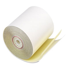 """Iconex™ Impact Printing Carbonless Paper Rolls, 3"""" x 90 ft, White/Canary, 50/Carton"""
