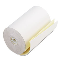 """Iconex™ Impact Printing Carbonless Paper Rolls, 4.5"""" x 90 ft, White/Canary, 24/Carton"""