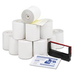 """Iconex™ Impact Printing Carbonless Paper Rolls, 3"""" x 90 ft, White/Canary, 10/Pack"""