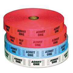 Admit-One Ticket Multi-Pack, 4 Rolls, 2 Red, 1 Blue, 1 White, 2000/Roll