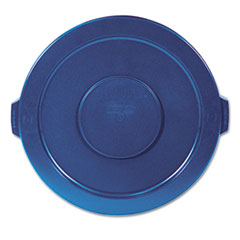 "Rubbermaid® Commercial Round Flat Top Lid, for 32 gal Round BRUTE Containers, 22.25"" diameter, Blue"