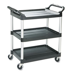 Economy Plastic Cart, Three-Shelf, 18-5/8w x 33-5/8d x 37-3/4h, Black