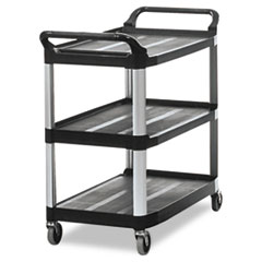 Rubbermaid® Commercial Open Sided Utility Cart, Three-Shelf, 40.63w x 20d x 37.81h, Black
