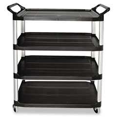 Rubbermaid® Commercial Open Sided Utility Cart, Four-Shelf, 40.63w x 20d x 51h, Black