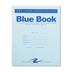 Examination Blue Book, Wide/Legal Rule, Blue Cover, 8.5 x 7, 4 Sheets