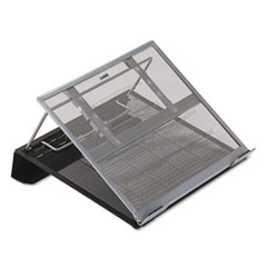 """Rolodex™ Mesh Laptop Stand with Cord Organizer, 13"""" x 11.75"""" x 6.75"""", Black/Silver, Supports 15 lbs"""