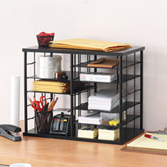 Rubbermaid® 12-Slot Organizer, MDF, Desktop Sorter, 21 x 11 3/4 x 16, Black