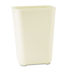 Rubbermaid® Commercial Fire-Resistant Wastebasket, Rectangular, Fiberglass, 10 gal, Beige