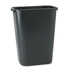 Deskside Plastic Wastebasket, Rectangular, 10.25 gal, Black
