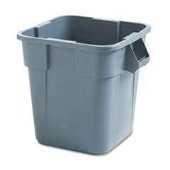 Rubbermaid® Commercial Brute Container, Square, Polyethylene, 28 gal, Gray