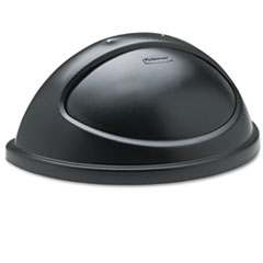 Rubbermaid® Commercial Untouchable Plastic Half-Round Lid, 21.38w x 12.38d x 9.13h, Black