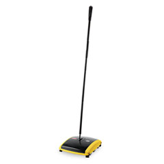 "Dual Action Sweeper, Boar/Nylon Bristles, 44"" Steel/Plastic Handle, Black/Yellow"