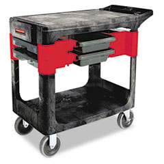 Rubbermaid® Commercial Trades Cart, Two-Shelf, 19.25w x 38d x 33.38h, Black