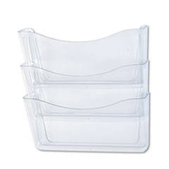 Rubbermaid® Unbreakable Three Pocket Wall File Set, Letter, Clear