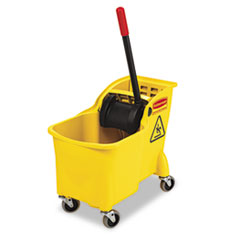 Rubbermaid® Commercial Tandem 31qt Bucket/Wringer Combo, Yellow