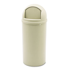 Rubbermaid® Commercial Marshal Classic Container, Round, Polyethylene, 15 gal, Beige