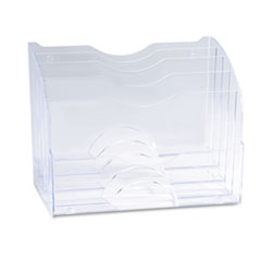 """Rubbermaid® Optimizers Multifunctional Two-Way Organizer, 5 Sections, Letter Size Files, 8.75"""" x 10.38"""" x 13.63"""", Clear"""