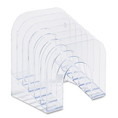 """Rubbermaid® Optimizers Multifunctional Six-Tier Jumbo Incline Sorter, 6 Sections, Letter Size Files, 9.38"""" x 10.5"""" x 7.38"""", Clear"""