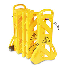 "Rubbermaid® Commercial Portable Mobile Safety Barrier, Plastic, 13ft x 40"", Yellow"