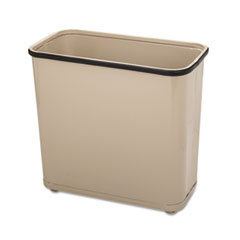 Rubbermaid® Commercial Fire-Safe Wastebasket, Rectangular, Steel, 7.5 gal, Almond