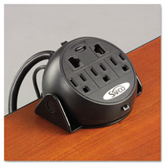 Safco® Power Module, 3 Outlets, 2 RJ-45 Ports, 8 ft Cord