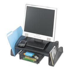 "Safco® Onyx Mesh Monitor Stand, 19.25"" x 11.25"" x 6.25"", Black"