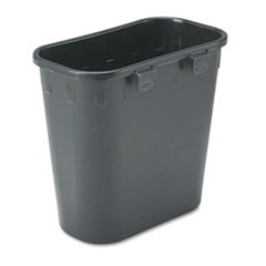 Safco® Paper Pitch Recycling Bin, Rectangular, Polyethylene, 1.75 gal, Black