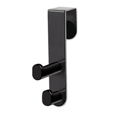 Plastic Coat Hook, 2-Hook, 1 3/4 x 5 1/4  x 7 3/4, Black