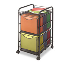 Safco® Onyx Mesh Mobile Double File, One-Shelf, 15.75w x 17d x 27h, Black