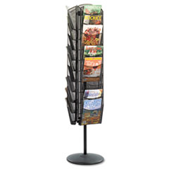 Onyx Mesh Rotating Magazine Display, 30 Compartments, 16.5w x 16.5d x 66h, Black