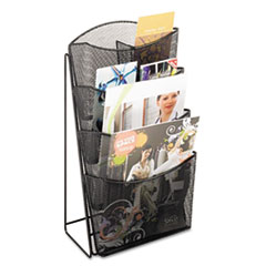 Onyx Mesh Counter Display, 4 Compartments, 9.75w x 9.5d x 18h, Black