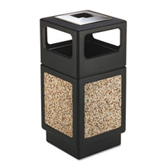 Safco® Canmeleon Ash/Trash Receptacle, Square, Aggregate/Polyethylene, 38 gal, Black