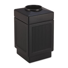 Safco® Canmeleon Top-Open Receptacle, Square, Polyethylene, 38 gal, Textured Black