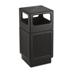 Safco® Canmeleon Side-Open Receptacle, Square, Polyethylene, 38 gal, Textured Black