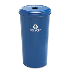 Safco® Tall Recycling Receptacle for Cans, Round, Steel, 20 gal, Recycling Blue