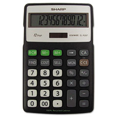 EL-R287BBK Recycled Series Calculator w/Kickstand, 12-Digit LCD