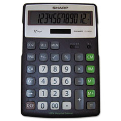 Sharp® EL-R297BBK Recycled Series Calculator w/Kickstand, 12-Digit LCD