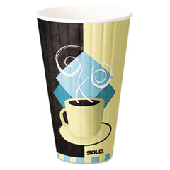 SOLO® Cup Company Duo Shield Insulated Paper Hot Cups, 20oz, Tuscan, Chocolate/Blue/Beige, 350/Ct SCCIC20J7534