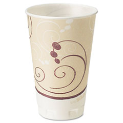 Dart® Symphony Design Trophy Foam Hot/Cold Drink Cups, 20oz, Beige, 750/Carton