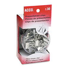 Presentation Clips, Assorted Sizes, Silver, 30/Box