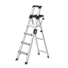 Cosco® Signature Series Aluminum Step Ladder, 6 ft Working Height, 300 lbs Capacity, 4 Step, Aluminum