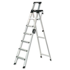 Signature Series Aluminum Folding Step Ladder w/Leg Lock & Handle, 8 ft, 6-Step