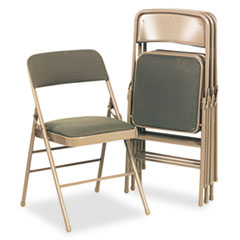 Deluxe Fabric Padded Seat & Back Folding Chairs, Cavallaro Taupe, 4/Carton