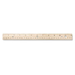 Westcott® Hole Punched Wood Ruler English and Metric With Metal Edge, 12""