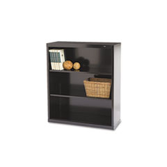 Metal Bookcase, Three-Shelf, 34-1/2w x 13-1/2d x 40h, Black