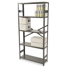 Tennsco Commercial Steel Shelving, Five-Shelf, 36w x 12d x 75h, Medium Gray