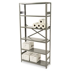 Tennsco Commercial Steel Shelving, Six-Shelf, 36w x 12d x 75h, Medium Gray